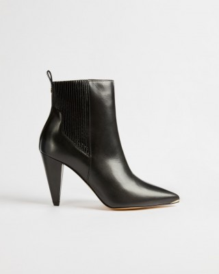 CONELLA LEATHER CONE HEELED ANKLE BOOT